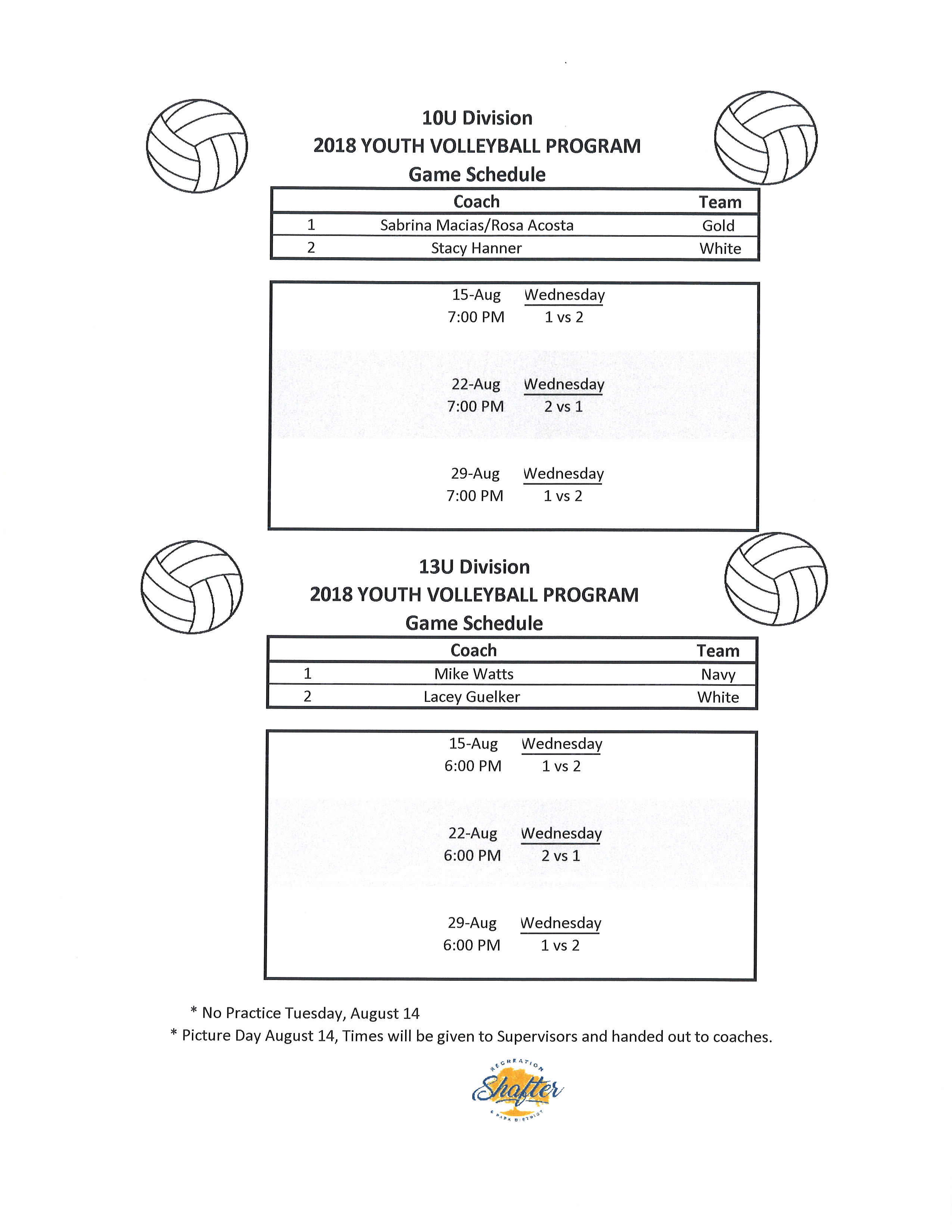 volley sched '18